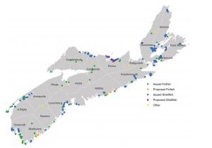 Concesiones de acuicultura en Nueva Escocia